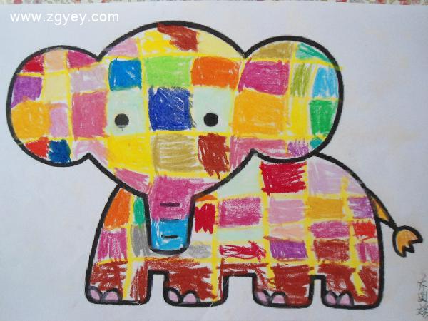 第七周课程美术特色《花格子大象》