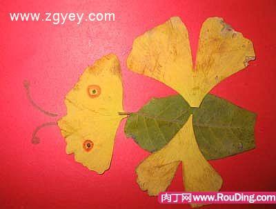 樹葉拼貼畫-兒童手工制作創意