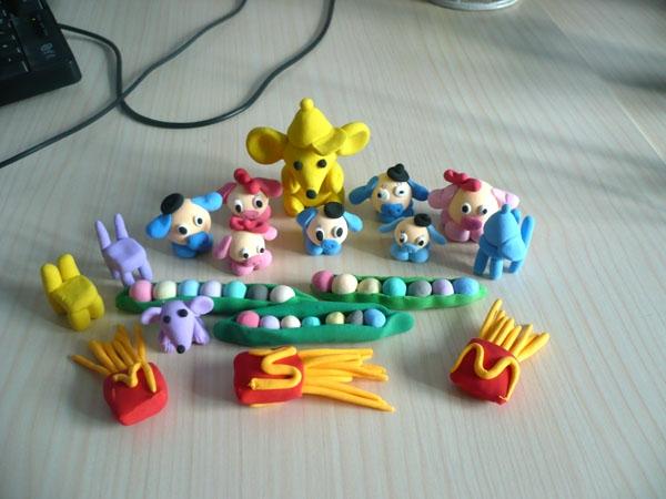 泥点点纸黏土diy制作小动物