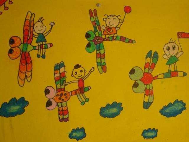 蜻蜓绘画作品可爱简单