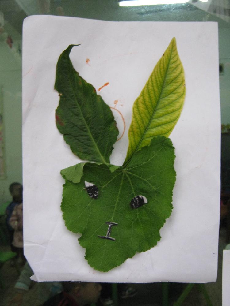 树叶手工制作兔子萝卜
