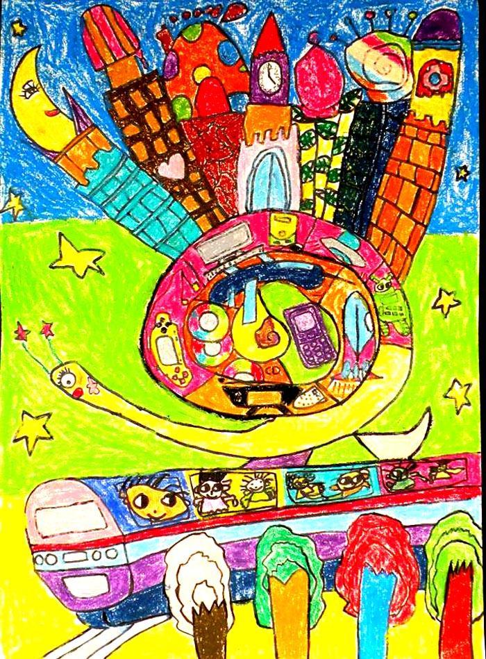 六年级一等奖科幻画内容|六年级一等奖科幻画版面设计