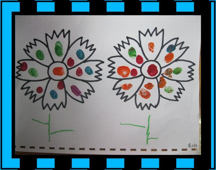 小一班美术作品《手指点花》-丹阳市丹凤幼儿园图片